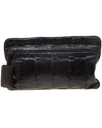 Bottega Veneta Black Snakeskin Convertible Flat Clutch