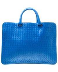 Bottega Veneta Blue Intrecciato Leather Flat Briefcase