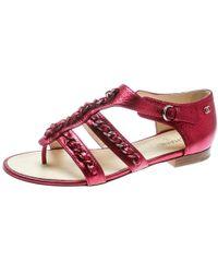edfdd8a45f80 Chanel - Metallic Pink Leather Cc Chain Link Flat Sandals Size 39.5 - Lyst