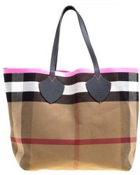 39f6dea87ef6 Burberry -  neon Pink Canvas And Leather Xl Reversible Tote - Lyst