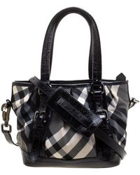 Burberry - Black Beat Check Nylon And Patent Leather Small Lowry Tote - Lyst