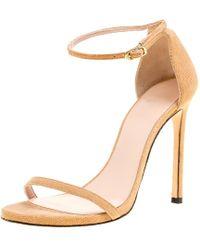 Stuart Weitzman - Beige Suede Ankle Strap Open Toe Sandals Size 38.5 - Lyst