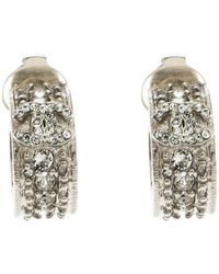 Chanel - Cc Crystal Embellished Small Hoop Clip On Earrings - Lyst