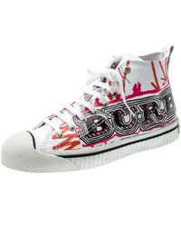Burberry - White Canvas Kingly Mark Print High Top Sneakers Size 40 - Lyst