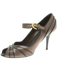 Louis Vuitton - Leather Mary Jane Peep Toe Pumps - Lyst