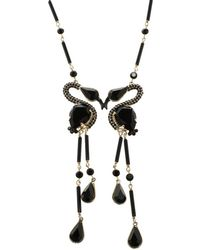 Etro - Crystal Bead Swans Gold Tone Dangle Necklace - Lyst