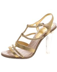 Chanel - Metallic Cc Crystal Embellished Suede Lucite Heel Strappy Sandals - Lyst