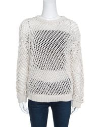 fcf6bc2ab7 Brunello Cucinelli - Chunky Open Knit Cotton Long Sleeve Jumper L - Lyst
