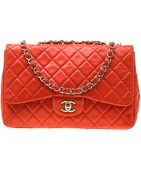 Chanel - Coral Orange Quilted Leather Jumbo Classic Single Flap Bag - Lyst