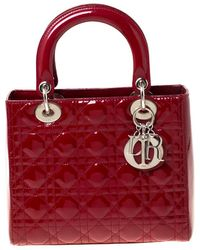 Dior Lady Red Patent Leather Handbag