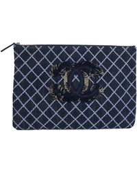 Chanel - Quilted Denim Cc Clutch Bag - Lyst
