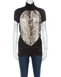 Roberto Cavalli Brown Ribbed Knit Wool Printed Silk Insert Turtleneck Top M