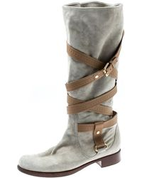 2a64e7dd432b Louis Vuitton - Grey Suede And Beige Monogram Leather Strappy Buckle Detail  Knee Length Boots Size