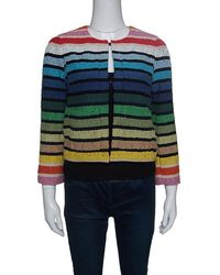 Sonia Rykiel - Rainbow Striped Textured Cropped Jacket S - Lyst