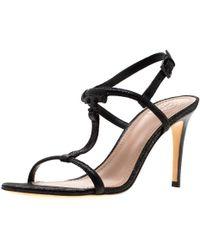 1290c09a5e Tory Burch - Black Saffiano Leather Logo T Strap Sandals Size 37 - Lyst