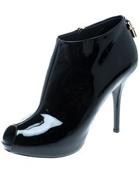 Louis Vuitton - Patent Leather Oh! Really Peep Toe Booties - Lyst