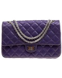 a9ca92d9cfcf5e Chanel - Purple Quilted Leather Reissue 2.55 Classic 226 Flap Bag - Lyst