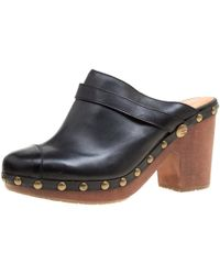Chanel - Leather Studded Wood Platform Mules - Lyst