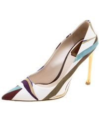 Dior - Abstract Print Canvas Pointed Toe Pumps - Lyst