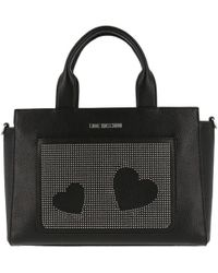 45a7a05c6f24 Moschino - Love Black Faux Leather Studded Top Handle Tote - Lyst