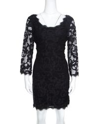 Diane von Furstenberg - Floral Lace Zarita Scoop Dress L - Lyst