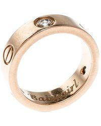 Cartier Love Diamond 18k Rose Gold Band Ring Size 51 - Metallic