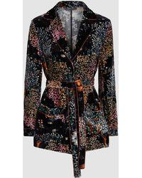 Alberta Ferretti - Silk-blend Floral Belted Blazer - Lyst