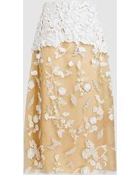Razan Alazzouni - Floral-appliqué Tulle Midi Skirt - Lyst