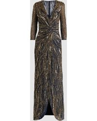 Phoenix Long Sleeve Gold Bead Twist Front Gown Jenny Packham