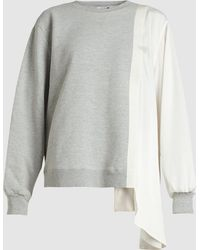 CLU - Side Draped Colour Block Silk Sweatshirt - Lyst