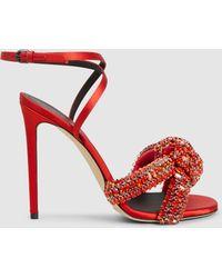 Marco De Vincenzo - Crystal Embellished Knot Leather Stiletto Sandals - Lyst