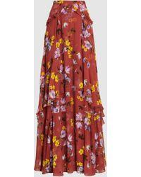 Erdem - Annabelle Printed Silk-chiffon Maxi Skirt - Lyst