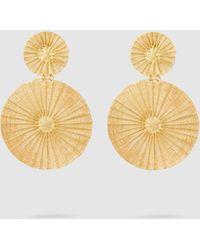 Mercedes Salazar - Dos Soles Dorados Raffia Gold-tone Earrings - Lyst