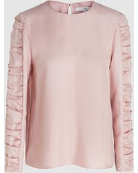 Tibi - Woman Shirred Satin-twill Blouse Baby Pink - Lyst