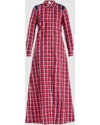 Stella Jean Checked Cotton Maxi Dress