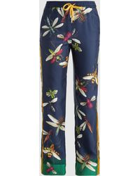 F.R.S For Restless Sleepers - Dragonfly-print Silk Trousers - Lyst
