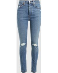 RE/DONE - Distressed Skinny Jeans - Lyst