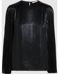 Christopher Kane - Pleated Silk-blend Lamé Top - Lyst