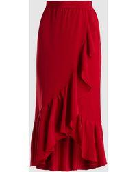 Adam Lippes - Ruffled Silk Crepe Wrap Skirt - Lyst