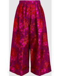 Delpozo - Pleated Floral-jacquard Culottes - Lyst