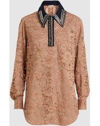 N°21 - Contrasting Collar Lace Blouse - Lyst