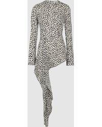 16Arlington Dalmatian Print Asymmetric Chiffon Top - White
