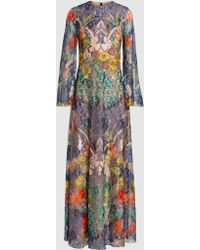 Reem Acra - Botanical Lace Long-sleeved Gown - Lyst