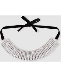 Alessandra Rich - Curved Crystal And Velvet Hairband - Lyst