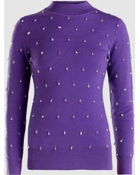 Huishan Zhang - Harley Beaded Crystal Knit Sweater - Lyst