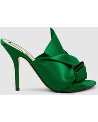 N°21 - Bow Satin Sandals - Lyst