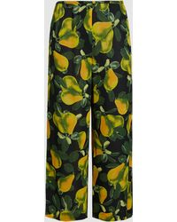 Marc Jacobs - Printed Cropped Crepe Trousers - Lyst