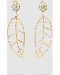 Mercedes Salazar - Leaf Gold-tone Crystal Clip Earrings - Lyst