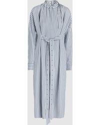 Tibi - Belted Striped Twill Midi Dress - Lyst