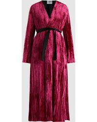Forte Forte - Tie-waist Pleated Velvet Kimono - Lyst